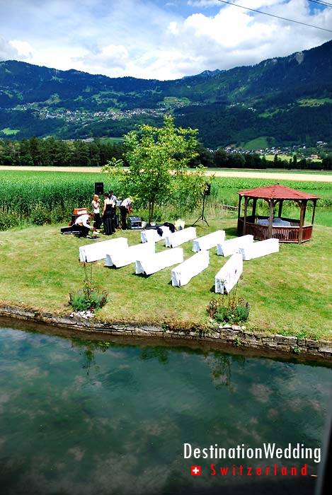 A wedding setting on the meadow just outside the restaurant