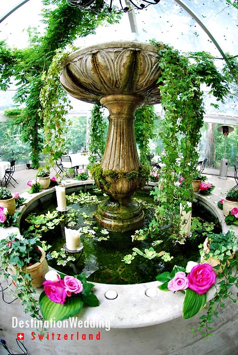The decorated fountain in the pergola
