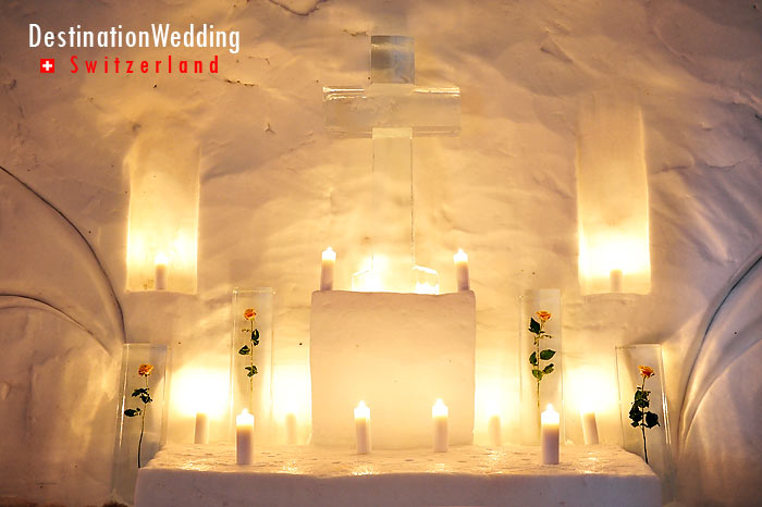 The ice altar of the church igloo, where ceremonies take place