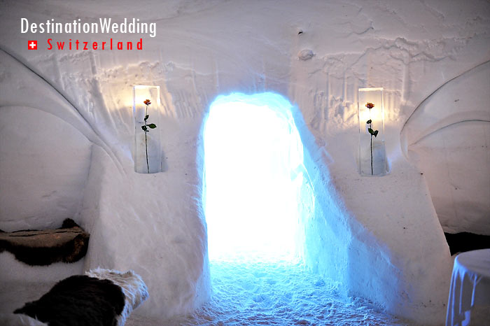 The entrance of the church igloo. Note the ice seats and the fur for warmth